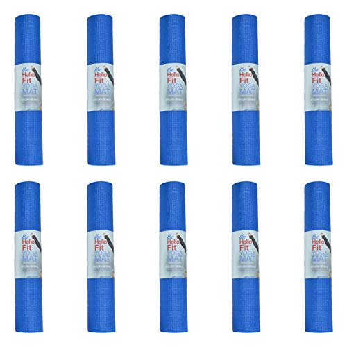 Hello Fit Yoga Mats, Bulk 10 Pack, Affordable Exercise Gym Mats with Non-Slip Texture, Eco Friendly, Blue