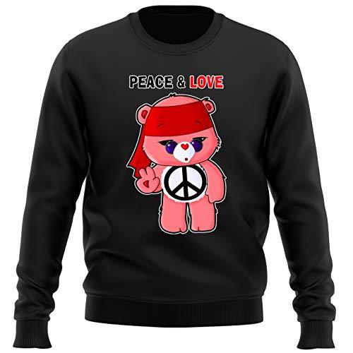 OKIWOKI Die Glücksbärchis Lustiges Schwarz Pullover - Die Glücksbärchis - Peace and Love (Die Glücksbärchis Parodie) (Ref:985)