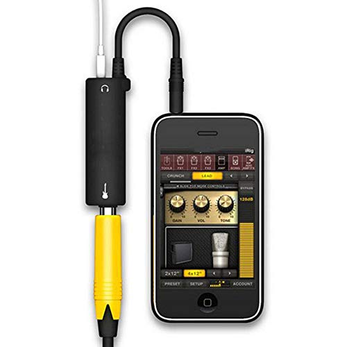 ZXCV Amplificatore Amplificatore Audio per Chitarra, Adattatore convertitore per Pedale Effetti per Chitarra, Jack per Cavo per iPhone iPad iPod,Nero