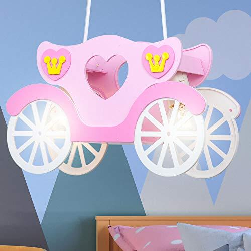 Mädchen Hänge Decken Leuchte Prinzessinnen Kutsche Kinder Zimmer Pendel Lampe rosa
