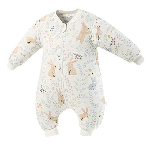 Baby Schlafsack mit Beinen Warm Gefüttert Winter Langarm Winterschlafsack mit Fuß 2.5 Tog (Weißes_Kaninchen,L/Höhe 110cm-120cm)