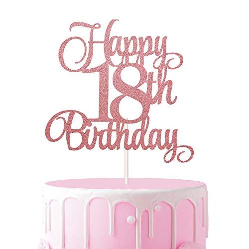 3 Stücke 18.Geburtstagstorte Topper, Glitzer Cake Topper 18 Geburtstag, Happy Birthday Tortendeko 18, Happy 18.Birthday Kuchen Cupcake Topper,Roségold Kuchen Dekoration für 18 Geburtstagsfeier Zubehör
