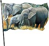 N/A USA Wächter Fahne Banner Hello Flaggen Elefant Familie zum Aufhängen im Innenbereich Garten für alle Jahreszeiten Terrasse College Deko 91,4 x 152,4 m