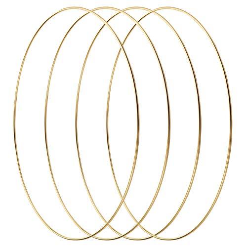 LIHAO 4 Stück 30cm Gold Metallring Kranz Ringe Hängedekoration Ringe Floral Hoops Ringe Kranz für DIY Handwerk Traumfänger Hochzeit Deko zum basteln…