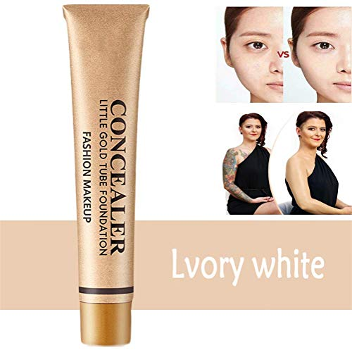 Little Gold Tube Full Coverage Foundation Anti-cernes, Tattoo Cover Up Makeup, Full Cover Foundation For Mature Skin For Under-Eye Skin Cover-Up (Blanc ivoire 1Pcs)