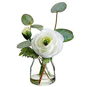 SilksAreForever 5.5″ Silk Ranunculus Flower & Eucalyptus Leaf Arrangement w/Glass Vase -Cream (Pack of 12)