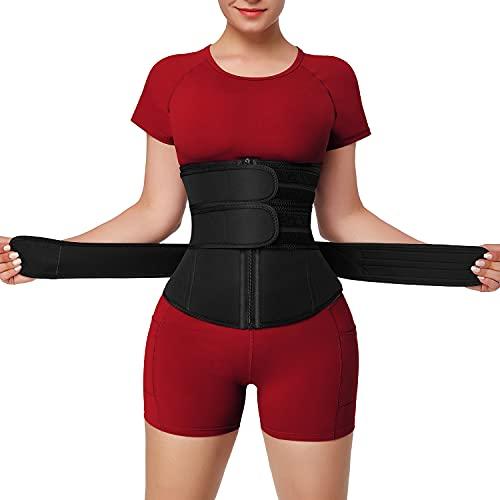 FeelinGirl Plus Size Waist Trainer Corset for Women 3 Strap Neoprene Sauna Sweat Workout Long Torso Black 6XL