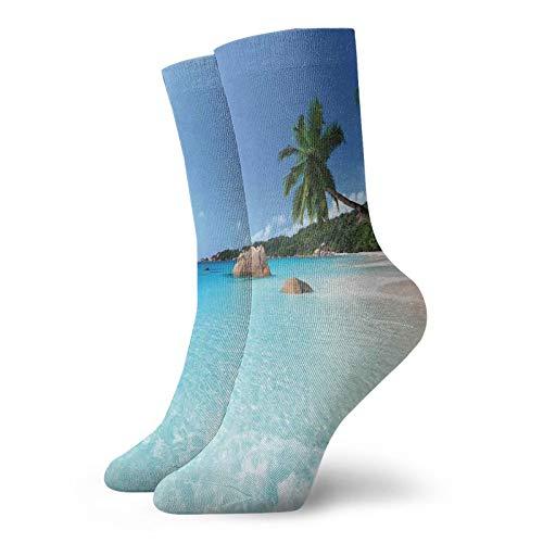 Calcetines suaves de longitud media pantorrilla, Anse Lazio Beach at Praslin Island Surf Beach Scenic View Travel,Calcetines para hombres y mujeres