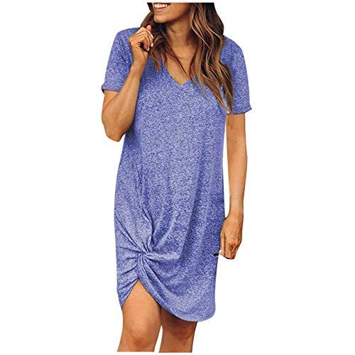 Vestidos de verano para mujer Venta Liquidación Señoras Moda O-Cuello Sólido Vestido de Manga Corta Vestido Casual Suelto Tamaño Grande Maxi Vestidos Fiesta Elegante Vestidos Talla Reino Unido