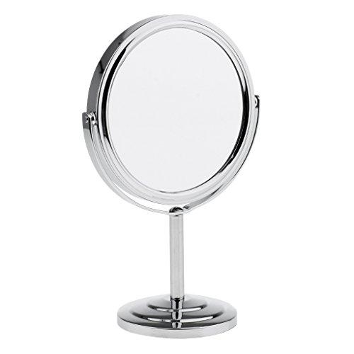MagiDeal Miroir de Maquillage à Double Face Normale et Grossissante - Miroir de Table Stable et Pivotant à 360 Degré - Argent