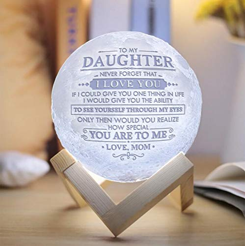 Engraved Moon Lamp Night Light - Never Forget That I Love You - Moon Light with Touch Control Brightness - from Mom/Dad to Daughter (ML-040 - from Mom)