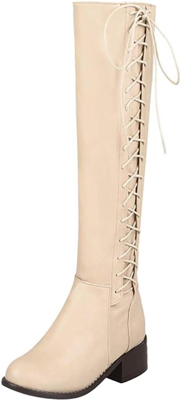 Unm Women's Block Heel Long Boots Zipper