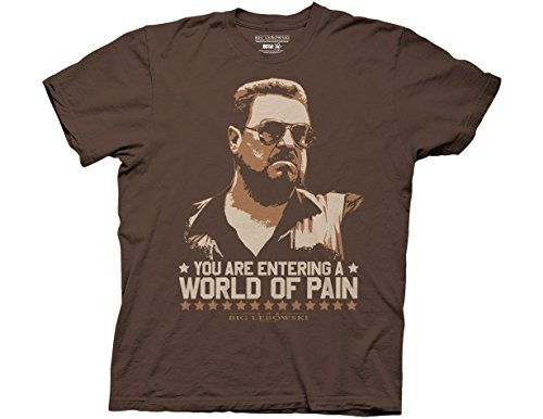 Ripple Junction Big Lebowski T-Shirt für Erwachsene, Unisex, World of Pain leicht, 100 % Baumwolle - Braun - Klein