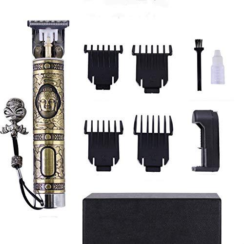 Tondeuse à Cheveux Pour Hommes Tondeuse Rechargeable USB Rasoir à Barbe Petit Tube De Cuivre Lumière Poussoir Artefact Avec Pied à Coulisse Socle De Batterie Tête De Bouddha Tondeuse à Cheveux électri