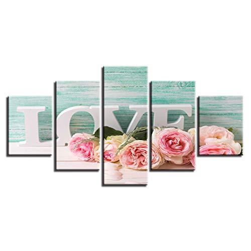 Decor muurkunst woonkamer HD gedrukt 5 stuks roze rozen en letters liefde schilderij modulaire afbeeldingen canvas moderne kunst (geen lijst) 30x40 30x60 30x80cm