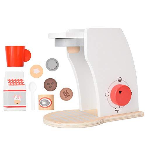 Zerodis Kaffeemaschine Spielzeug Kinder aus Holz Küche Spielzeug Kaffee Spielhaus Indoor Kochen Zubehör Rollenspiel Puppenhaus Möbel Kind Weihnachten Geburtstagsgeschenk für Kleinkinder