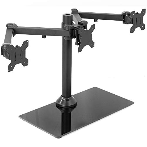 VIVO Black Triple Monitor Mount | Heavy Duty Fully Adjustable Stand for 3 Screens up to 24 inches (STAND-V003)