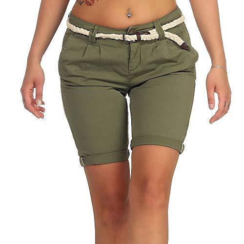 Eight2Nine Damen Chino Shorts LETN-025 Kurze Hose mit Gürtel Olivine Green M