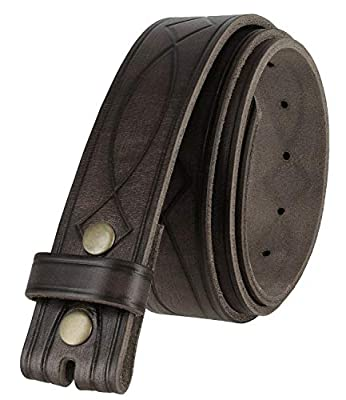 """382000 Genuine One Piece Full Grain Leather Hand Tooled Engraved Belt Strap 1-1/2""""(38mm) Gray, 34"""