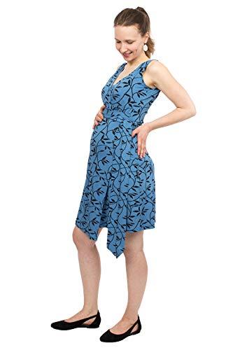 Viva la Mama - Umstandskleider festlich, Kleid für Schwangerschaft und Stillen, Sommerkleid Damen Top - Tessa - blau Ranken - S