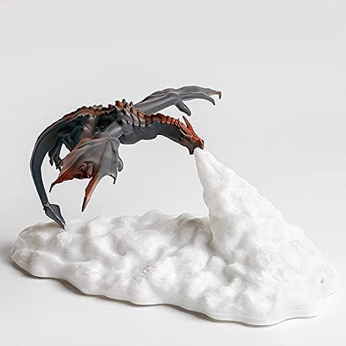 AVBXAWGU Luz Nocturna 3D Impresión Led Fire Dragon Ice Dragon Night Light Rechargeable Soft Light Home Decoración lámparas de Escritorio para Dormitorio Firedragon