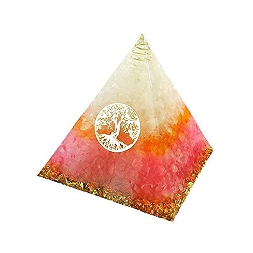 W.Z.H.H.H Crystal Rough Chakra Orgonita Pyramid Resin Decoration Decorazione Naturale Bianco Giallo Giallo Crystal Artigianato Pyramid .Cristalli di guarigione (Color : Rosa, Size : 5cm)