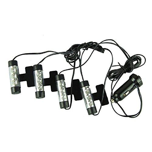Autoinnenbeleuchtung, 4 x 3-LED-Lampen, 12V, Stromzufuhr über Zigarettenanzünder des Autos, blau