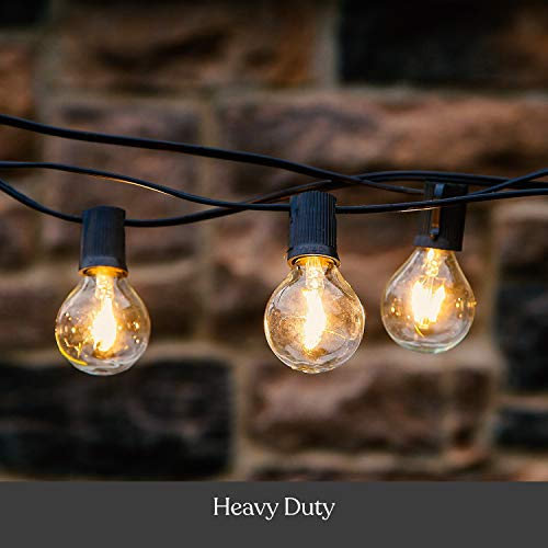Brightech Ambience Pro - Globe, Waterproof LED Outdoor String Lights - 26 Ft Patio Lights with 1W Edison Bulbs Create Cafe Ambience On Your Balcony - Black