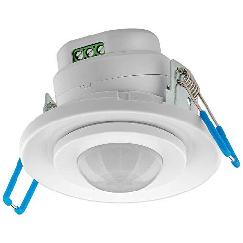 Goobay 71362 Bewegungsmelder mit Dämmerungssensor - Einbaubewegungsmelder für Innen UP Unterputz-Deckenmontage - 360 Grad Erfassung - 8m Reichweite - LED geeignet