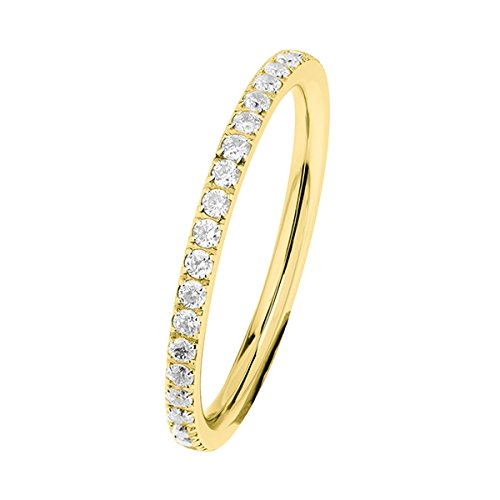 Ernstes Design Evia Ring, Vorsteckring, Beisteckring, Edelstahl beschichtet in Farbe Gold mit Zirkonia rundherum R454.WH (54 (17.2))