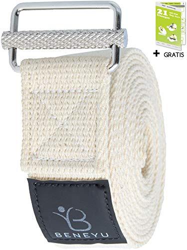 beneyu ® Rutschfester Yoga Gurt - Innovative Metall-Schnalle - 100% Baumwolle - Made in Germany +Übungen
