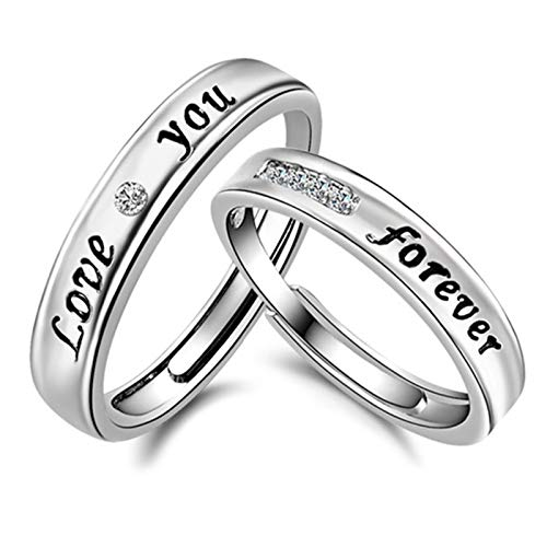 1 par de anillos de boda para parejas, anillos de compromiso con circonita y letras de plata de ley para mujeres y hombres