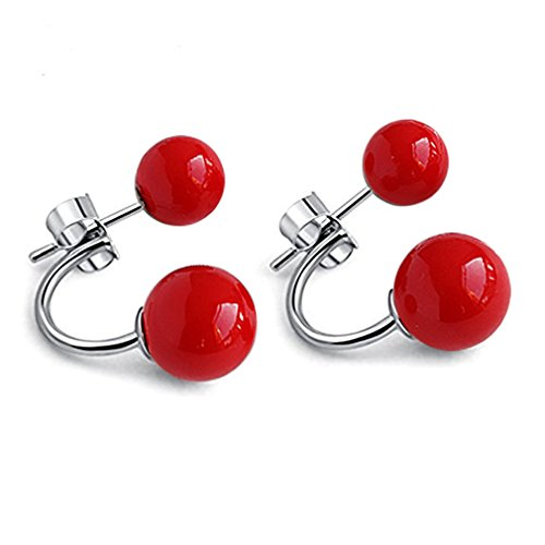 Pendientes mujer rojos plata de ley 925 con rojas perlas pendientes ar