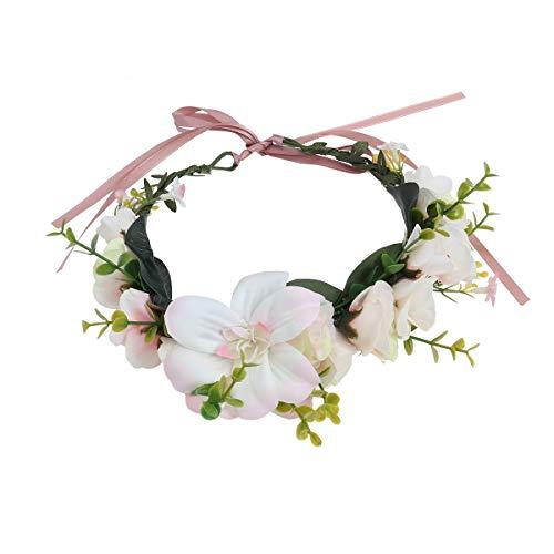 NUOLUX Blumen Kranz Stirnband Krone Blumengirlande Boho für Festival Hochzeit (hellrosa)