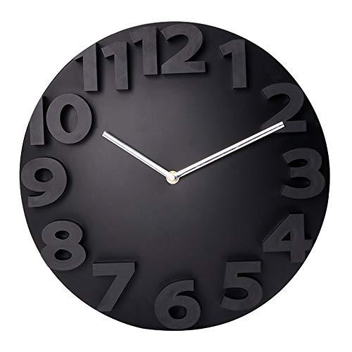 Comeyang Reloj de Pared Grande, Estilo Retro y Vintage, Mudo, sin tictac, Cuarzo, decoración,Reloj de Pared Digital Tridimensional Blanco 12 Pulgadas