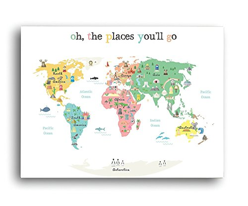 """Oh The Place You'll Go"" Children's Illustrated World Map Poster - Global Nursery Art - Perfect for Nursery Decor, Bedroom Decor, Playroom Map, and Classroom Map- Educational Kid's Room Map"