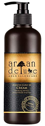 Argan Deluxe Keratin Leave-In Pflege & Styling in Friseur-Qualität 240 ml - Anti-Frizz, Feuchtigkeit, Glanz und Geschmeidigkeit