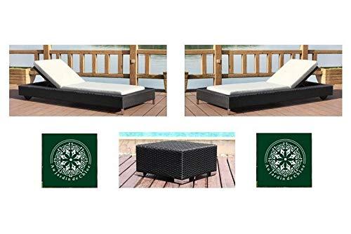Au jardin de Chloé | Duo de Bains de Soleil roulettes résine tressée Zoe Noir • 2 chaises Longues + Une Table •