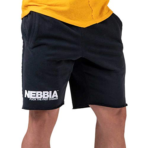 Nebbia, Legday Hero Shorts, Loose fit, Unfinished Look, Soft Rubber Band Inside The Waist with Drawstrings, Color Black, Size XL