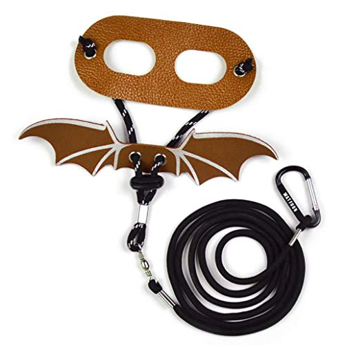 WATFOON Adjustable Bearded Dragon Leash Lizard Reptile Leather Harness with Wings for Amphibians Crested Leopard Gecko Anole Chameleon Guinea Pig Ferrets Hamster Rats Walking & Training (L, Brown)