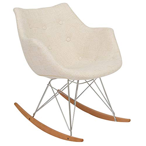 LeisureMod Willow Petite Beige Twill Fabric Eiffel Rocking Chair