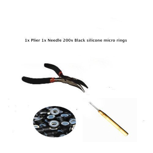 Kit d'extension de cheveux Aiguille Plume Anneaux en Silicone Noir 200 pcs 5 mm Kit de plume aiguille par Hair Extension