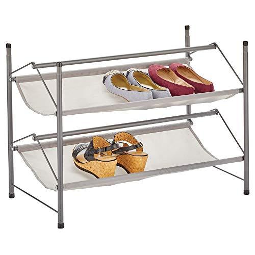 mDesign - Schoenenrek - schoenenkast/schoenenstandaard - 2 etages/stapelbaar/compact - voor gang, garderobe en slaapkamer - metaal en stof - antraciet/grijs