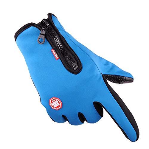 CHSDN winter sports gloves, cold and waterproof gloves, plus velvet warm ski mountaineering gloves,Light blue,M