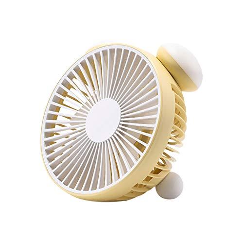 ROVNKD USB Mini Fan Ventilator Beweglicher Persönlicher Schreibtisch-Aufladbare Faltbare Neck Fan mit Lanyard(Gelb,)