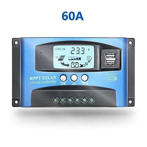 Controlador de carga solar MPPT de 60 A con doble salida USB 5 V 12/24 V panel solar regulador...
