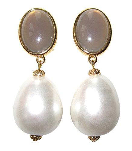 Hingucker: Sehr große leichte Ohrstecker Ohrringe vergoldet Stein grau Anhänger Perle weiß Tropfen Statement Braut edel Designer JUSTWIN