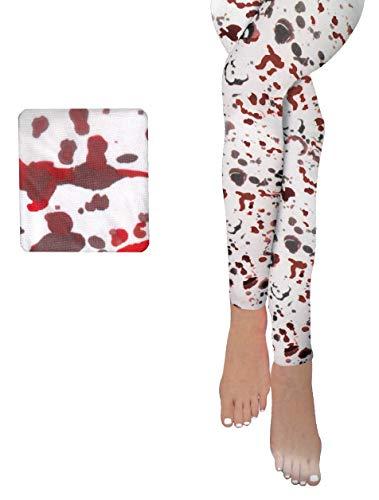 Brandsseller Leggings de terror para Halloween, disfraz de carnaval, fiesta, talla nica, color blanco y rojo
