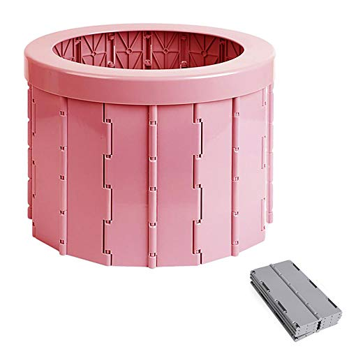 Inodoro Plegable Urinario de Emergencia al Aire Libre Orinal para Automóvil Portatil WC Lavable Resistente Suministros de Campamento para Viajes Senderismo,Pink