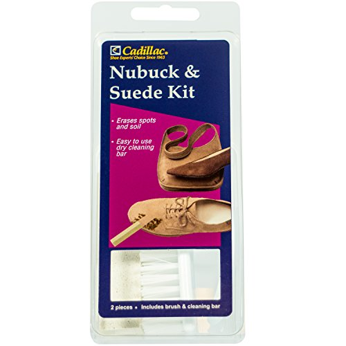 Cadillac Nubuck & Suede Cleaner Kit - Brush and Eraser - Remove Stains & Clean Shoes Boots Bags Coats & More